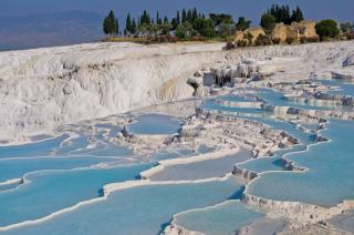 the travertine- pamukkale thermal pools